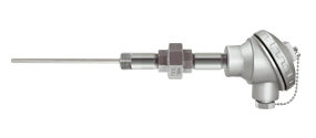 Temperature sensor for protection of wells with spring (spring-load)